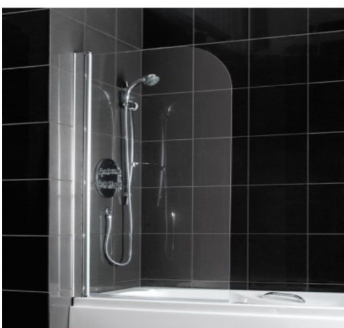 Radius Corner Bath Screen Clear Glass Chrome Wall Profile, 180 Degree Pivot